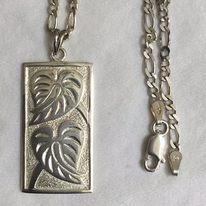"Jewelry - 30"" Sterling Silver Chain with Anthurium Pendent"